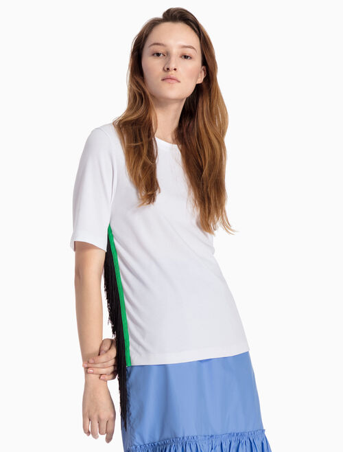CALVIN KLEIN KNITTED TEE WITH TASSELS