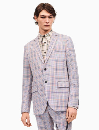 CALVIN KLEIN relaxed single-breasted jacket in check worsted wool