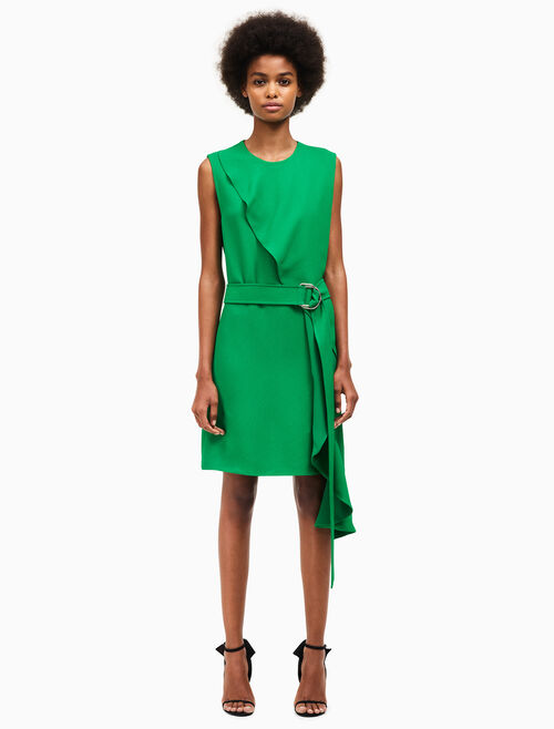 CALVIN KLEIN overlap drape sleeveless dress