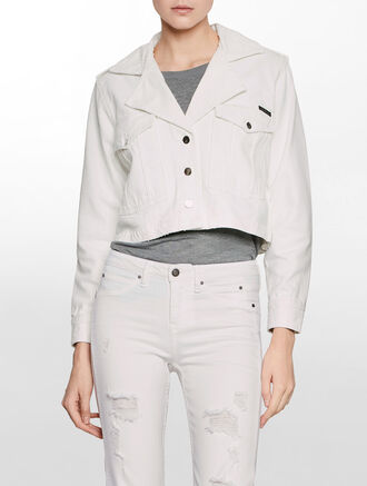 CALVIN KLEIN WHITE DESTRUCTED MILITANT JACKET