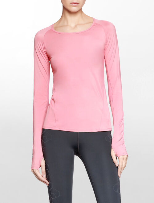 CALVIN KLEIN SILICON FLOCKING LONG SLEEVE TOP