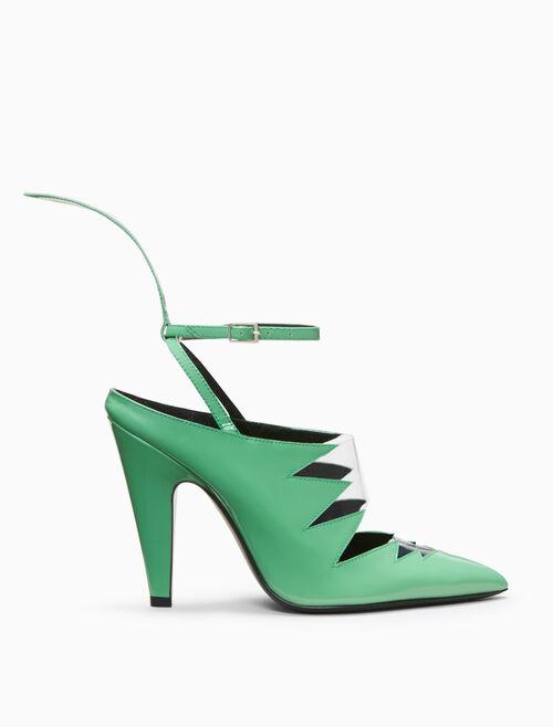 CALVIN KLEIN high heeled vinyl pump in patent leather