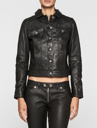 CALVIN KLEIN REBEL EDGE LEATHER TRUCKER JACKET