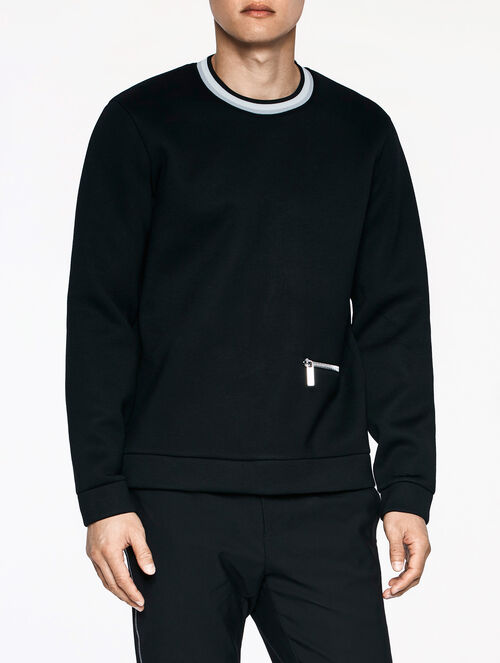 CALVIN KLEIN LIGHTWEIGHT DOUBLE FACE JERSEY LONG SLEEVES SWEATSHIRT WITH SWEATER TRIM