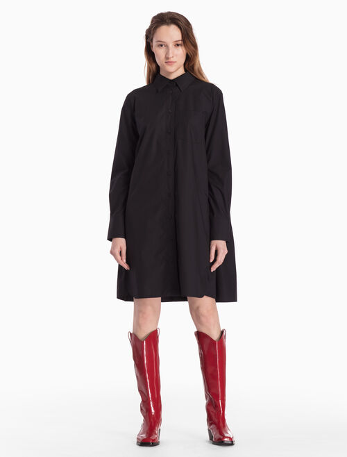 CALVIN KLEIN WOVEN SHIRT DRESS WITH RUFFLED BACK