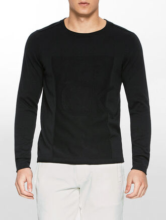 CALVIN KLEIN SADDLE CREW NECK SWEATER