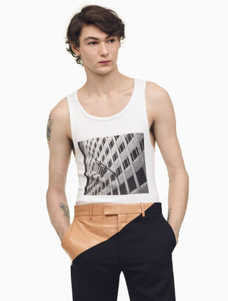CALVIN KLEIN Building With American Flag Tank Top