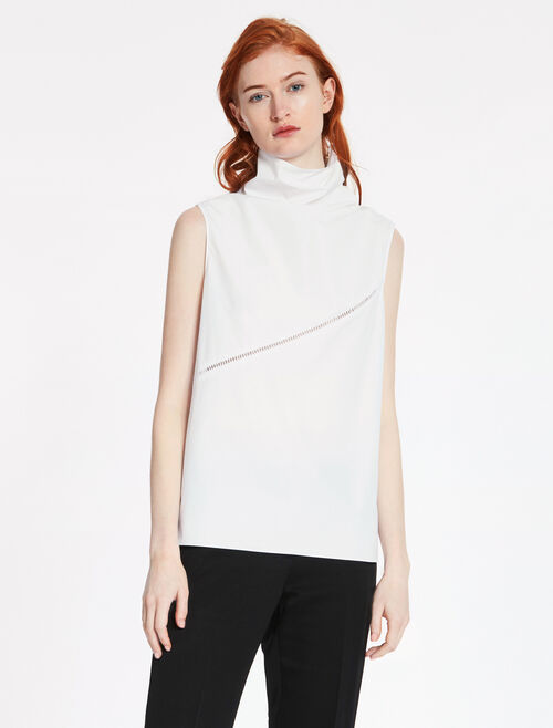 CALVIN KLEIN CLEAN COTTON SLEEVELESS TOP WITH EMBROIDERY