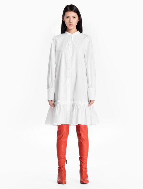 CALVIN KLEIN WOVEN SHIRT DRESS WITH RUFFLE