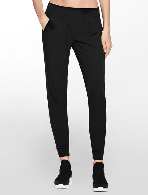CALVIN KLEIN COVERED WAISTBAND WOVEN PANT