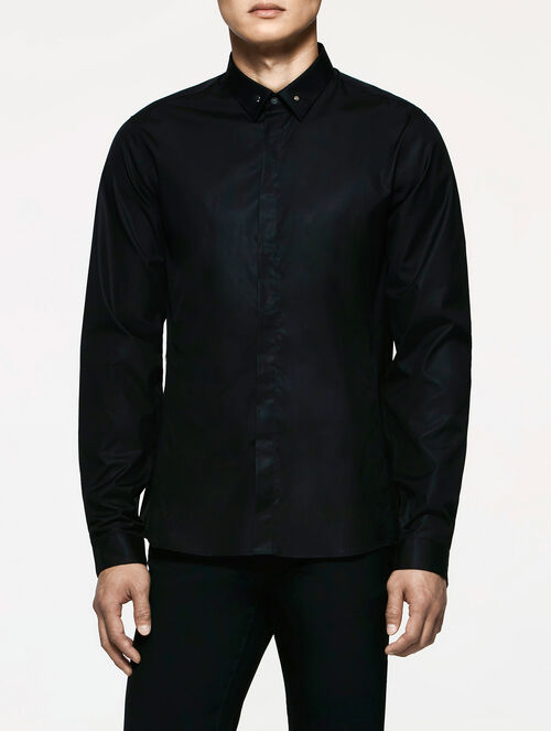 CALVIN KLEIN REFINED POPLIN LONG SLEEVES SHIRT WITH HEXAGON STUDS ON COLLAR