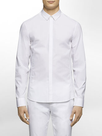 CALVIN KLEIN FINE STRETCH POPLIN LONG SLEEVES SHIRT( SID FIT )