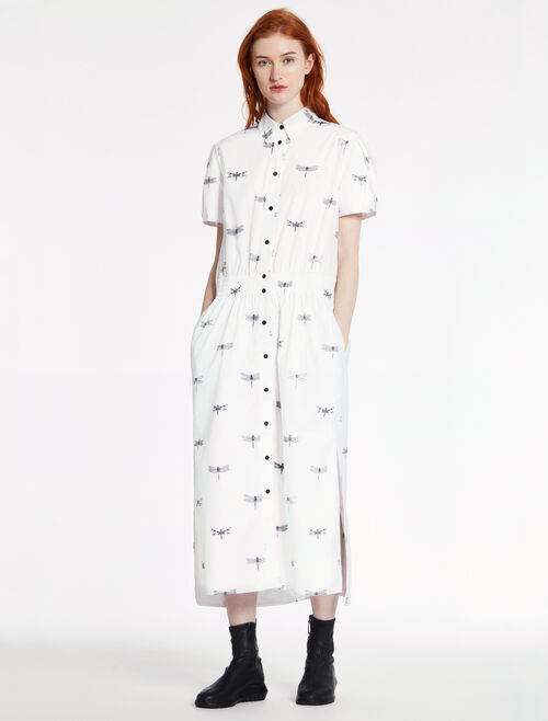 CALVIN KLEIN DRAGONFLY PRINTED POPLIN DRESS