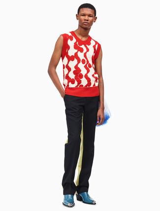 CALVIN KLEIN bicolor slim pants in wool gabardine