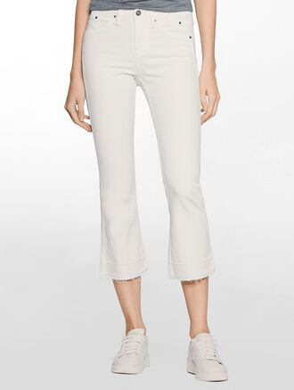 CALVIN KLEIN SCULPTED INIFINITE WHITE SLIM BOOT CUT JEANS