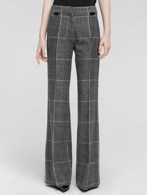 CALVIN KLEIN WOOL PRINCE OF WALES PLAID FLEECE WIDE LEG TROUSER