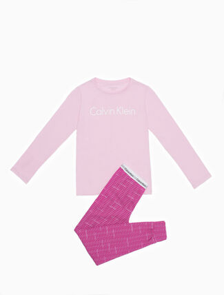 CALVIN KLEIN GIRLS MODERN COTTON LONG SLEEVE KNIT PAJAMA SET