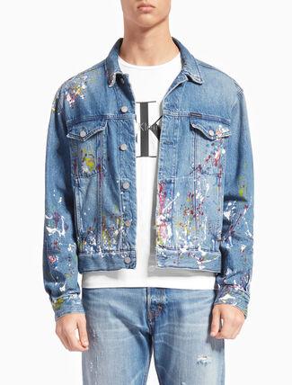 CALVIN KLEIN STERLING BLUE 데님 트럭커 재킷