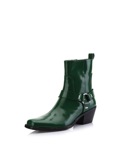 CALVIN KLEIN PATENT LEATHER ANKLE BOOTS