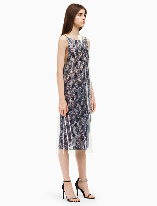 CALVIN KLEIN plastic floral georgette dress