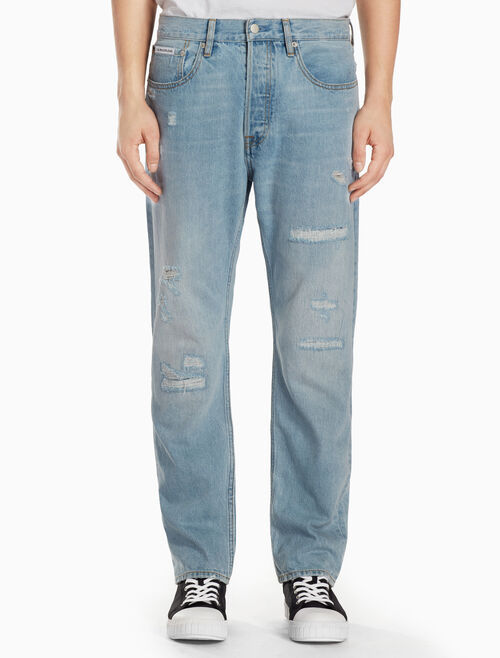 CALVIN KLEIN Abby Blue Distressed Striaght Jeans