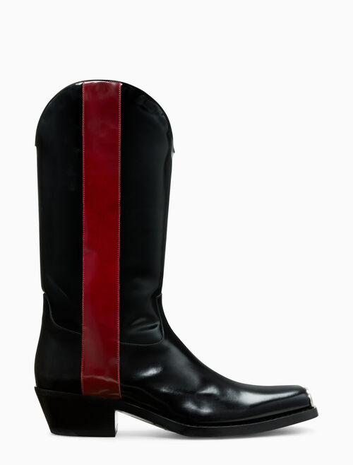 CALVIN KLEIN western boot in calf leather with 205 silver toe plate
