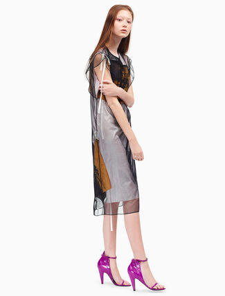 CALVIN KLEIN 플레어 튤 드레스