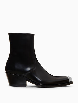 CALVIN KLEIN western ankle boot in calf leather with silver toe cap