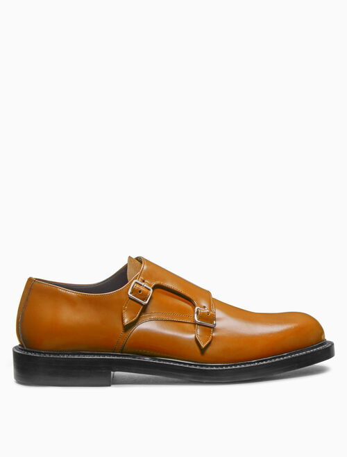 CALVIN KLEIN double monk strap shoe in calf leather