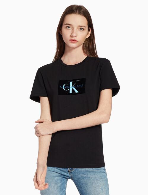 CALVIN KLEIN FLOCKED MONOGRAM LOGO 티셔츠