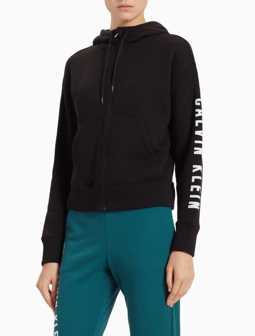 CALVIN KLEIN HOODED JACKET WITH RIBBED HEM