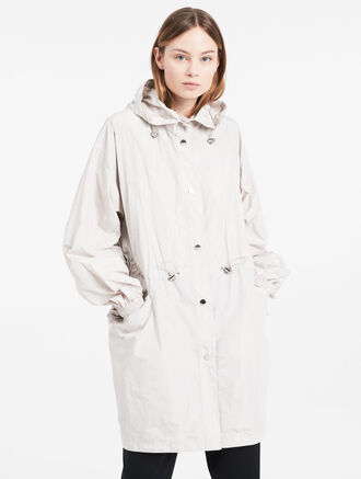 CALVIN KLEIN LIGHTWEIGHT MEMORY HOODED TRENCH