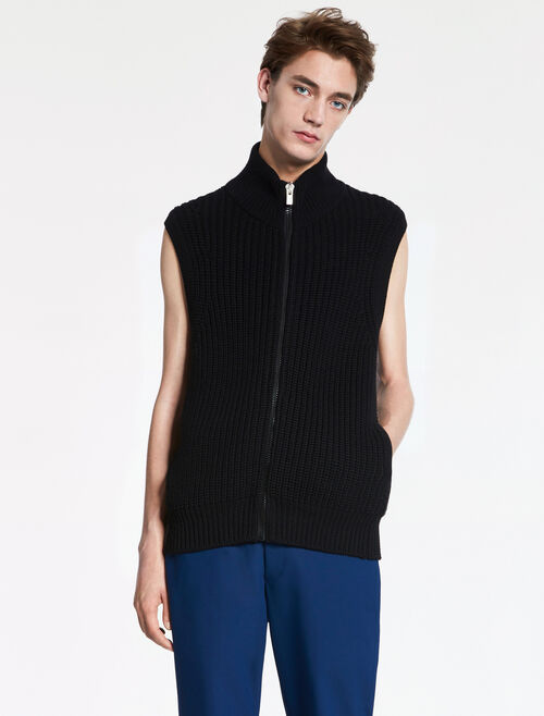 CALVIN KLEIN EXTRAFINE WOOL ZIP UP VEST