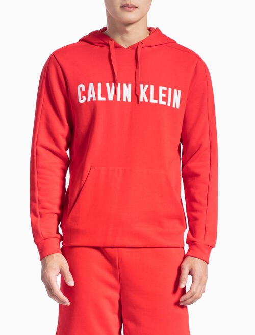 CALVIN KLEIN LOGO FRENCH TERRY PULLOVER HOODIE