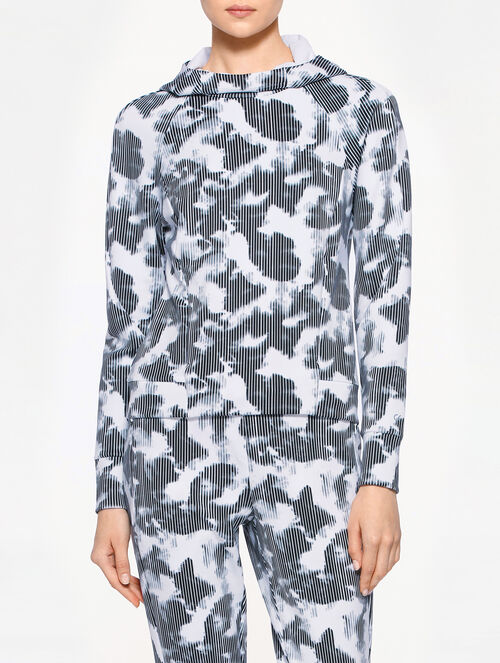 CALVIN KLEIN FABRIC MIX PULLOVER WITH HOOD