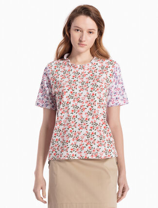 CALVIN KLEIN KNITTED FLOWER PRINT BLOUSE