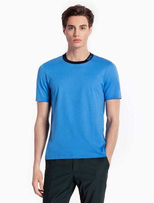 CALVIN KLEIN KNITTED TEE WITH LOGO COLLAR BAND