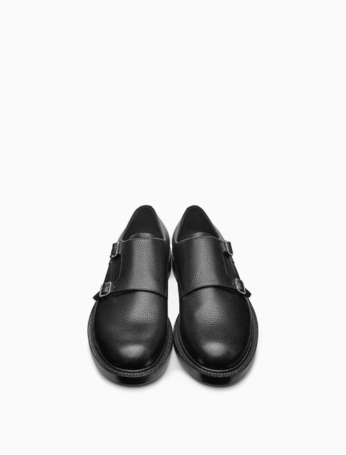 CALVIN KLEIN double monk strap shoe in grain leather