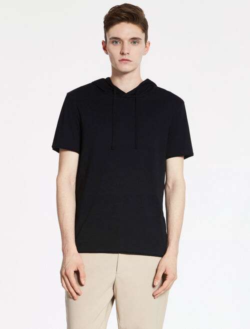CALVIN KLEIN SUPERSOFT PIMA COTTON JERSEY Short Sleeves HOODIE TOP
