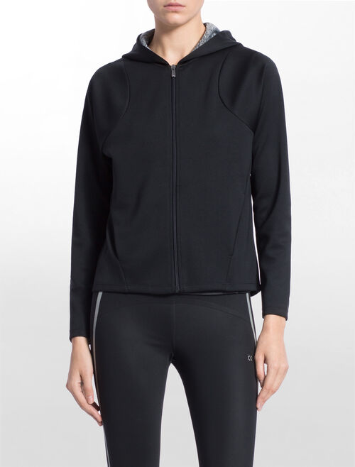 CALVIN KLEIN BONDED SWEAT JACKET WITH HOOD