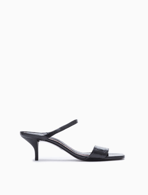 CALVIN KLEIN EMBOSSED CROCODILE HEELED SANDALS