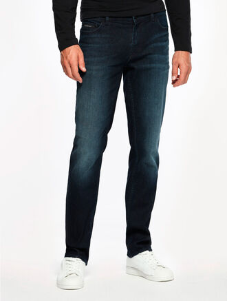 CALVIN KLEIN SODA BLUE DARK WASH SLIM STRAIGHT JEANS