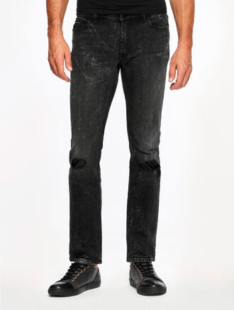 CALVIN KLEIN BLACK RAIN DESTRUCTED SKINNY JEANS