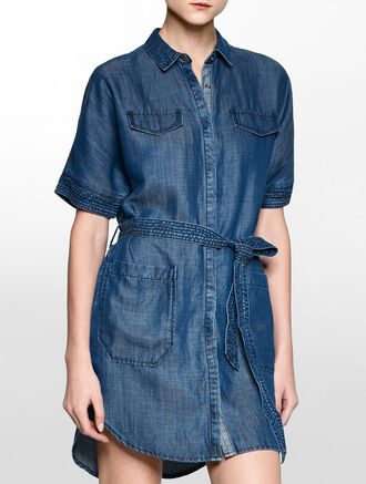 CALVIN KLEIN LYOCELL LINEN SHIRT DRESS