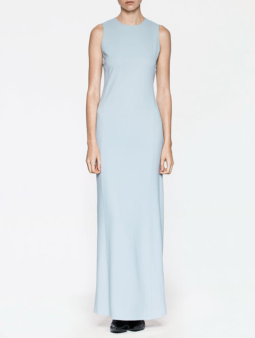 CALVIN KLEIN TECHNICAL MATTE CREPE SLEEVELESS LONG DRESS