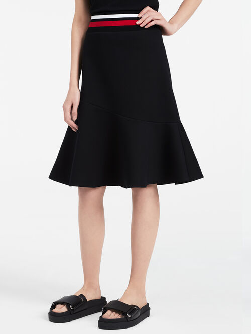 CALVIN KLEIN SCULPTED JERSEY FLARED SKIRT