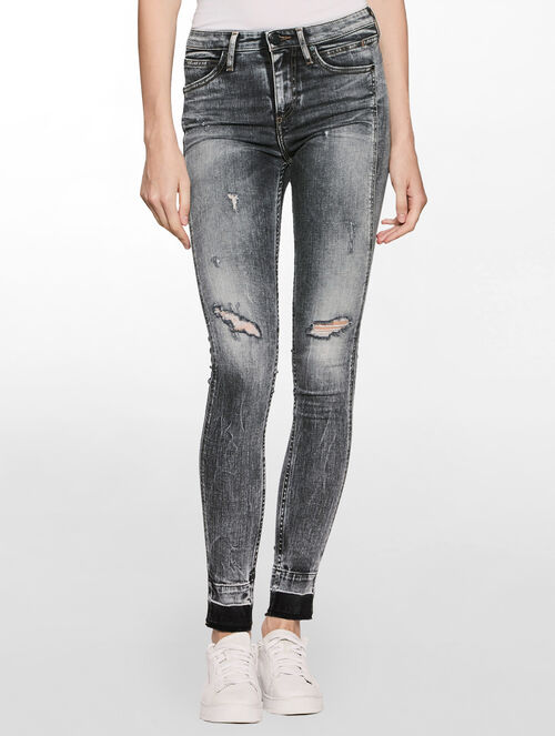 CALVIN KLEIN SCULPTED BROKEN GREY SKINNY JEANS