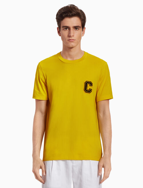 CALVIN KLEIN KNIT TEE WITH LOGO APPLIQUE