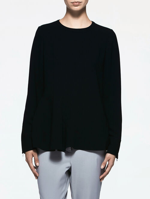 CALVIN KLEIN CREPE LONG SLEEVE TOP