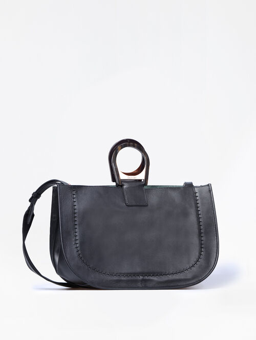 CALVIN KLEIN CALF LEATHER EAST WEST SATCHEL